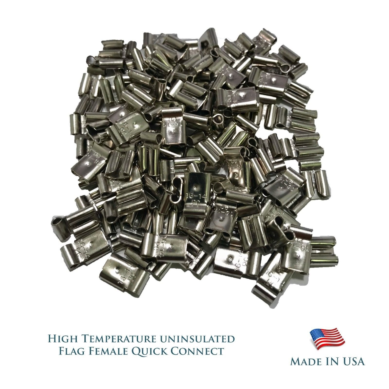 Sherco-Auto High Temperature 100 Pcs Flag Female Quick Connectors 16-14 AWG Gauge.250 FQC - USA Made by Sherco-Auto
