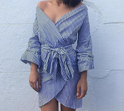 18115f19cd King Fury1 Women Sexy Off Shoulder Stripe Deep v Neck Dress Summer Wrap  Dress Shirt at Amazon Women s Clothing store