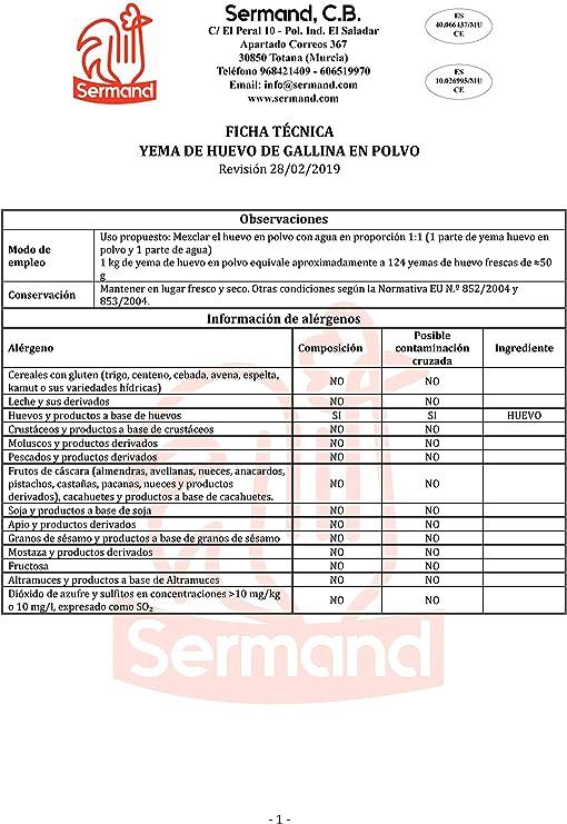 YEMA DE HUEVO EN POLVO BOLSA ZIP 350 G. SIN ADITIVOS: Amazon ...