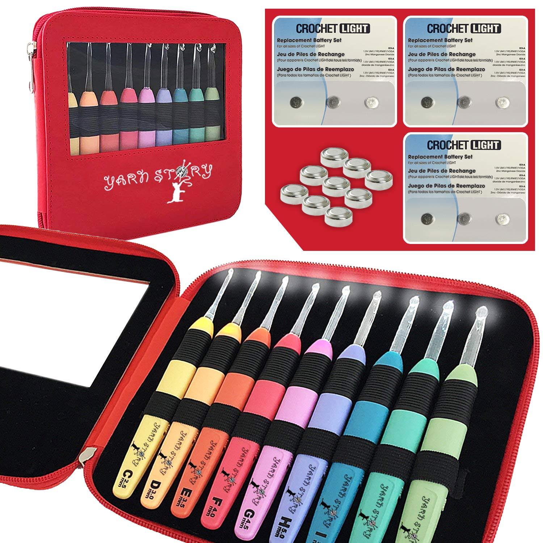 Crochet Kit, 9 Ergonomic Crochet Hooks, Crochet Needles Set, Led Crochet Hook Set W/Ergonomic Handle, Bonus Crochet Hook Case and 9 Batteries! 9 Knitting Needles, 2.5mm to 6.5mm(Red with 9 Batteries)