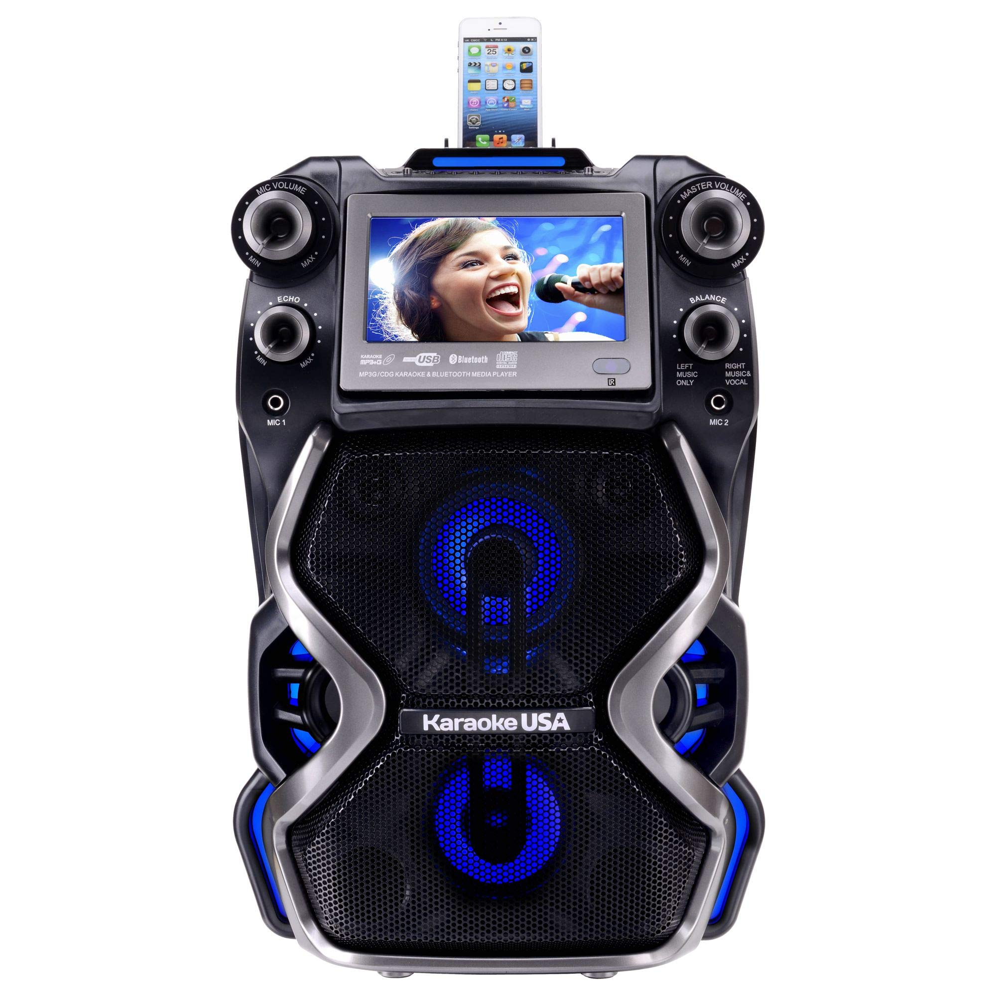 Karaoke USA GF920 Outdoor Portable Professional Bluetooth Karaoke Machine and PA System with Rechargeable Lithium Battery by Karaoke USA (Image #5)