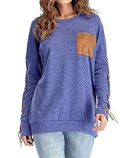 c49d425edf8e YUPOLB Sommer Oberteile Damen Tuniken Locker Lang Tops Blouse Fashion Bluse  T-Shirt mit Pocket