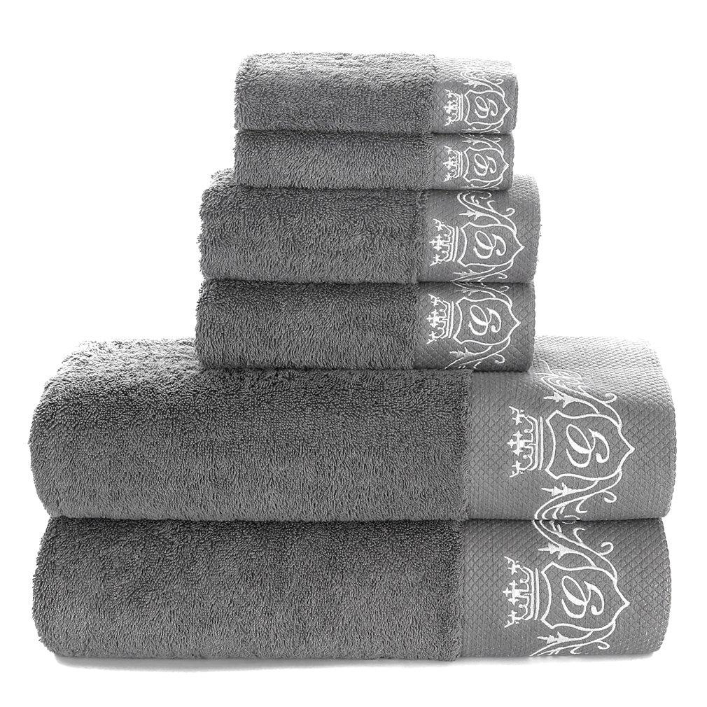 900 GSM Luxury Bathroom 6-Piece Towel Set,100% Premium Long-Staple Combed Cotton, 2 Hotel & Spa Quality Washcloths, 2 Hand Towels, and 2 Bath Towels (6 Piece Grey Set)