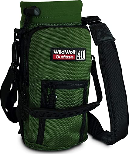 Wild Wolf Outfitters Protect and Insulate Your Flask with This Military Grade Carrier w// 2 Pockets and an Adjustable Padded Shoulder Strap. #1 Best Water Bottle Holder for 40 oz Bottles Carry
