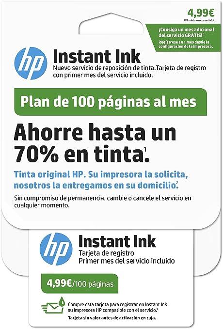 Hp Instant Ink Primer Mes Del Servicio De Reposición De Tinta De Hp Plan De 100 Páginas Amazon Es Electrónica