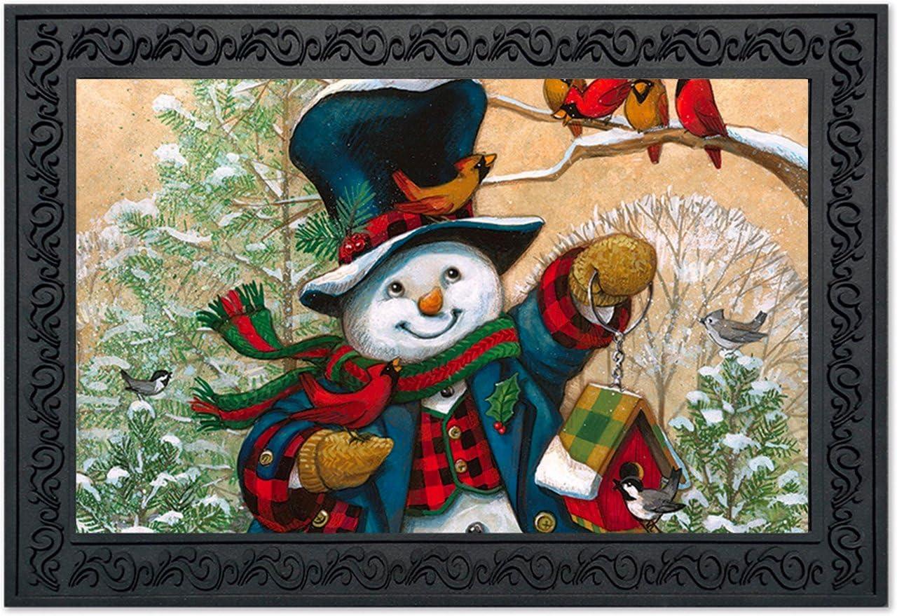 Briarwood Lane Winter Friends Snowman Doormat Cardinals Primitive Indoor Outdoor 18 x 30