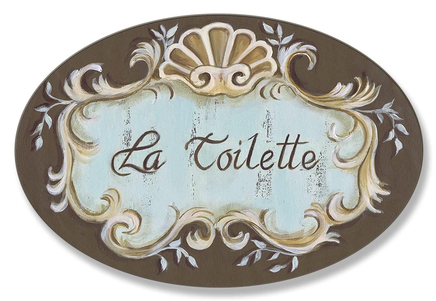 Stupell Home Décor La Toilette Aqua And Brown Scallop Shell Crest Oval Bathroom Wall Plaque, 10 x 0.5 x 15, Proudly Made in USA