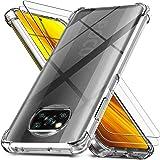 Ferilinso fodral + 2-pack skärmskydd härdat glas för Xiaomi Poco X3 NFC [stötsäker klar silikonskydd] [militärklassskydd…