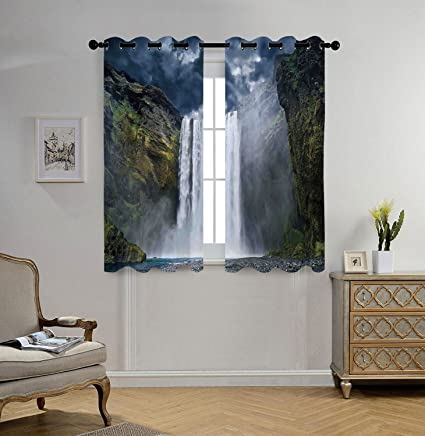 Stylish Window Curtains,Waterfall,Waterfall And Grand Cliffs In Northern  America Force Of Nature