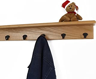 """product image for Solid Cherry Shelf Coat Rack with Aged Bronze Single Style Hooks (Natural, 26"""" with 5 hooks)"""