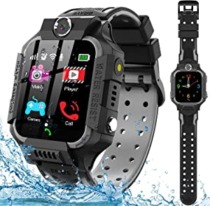 Kids Smart Watch for Boys Girls - IP67 Waterproof Smart Watch Phone with Music Player Video Calls Recorder Camera Gizmos Games Alarm 12/24 Hr Kids Toddler Smartwatch Birthday Gifts (Black)