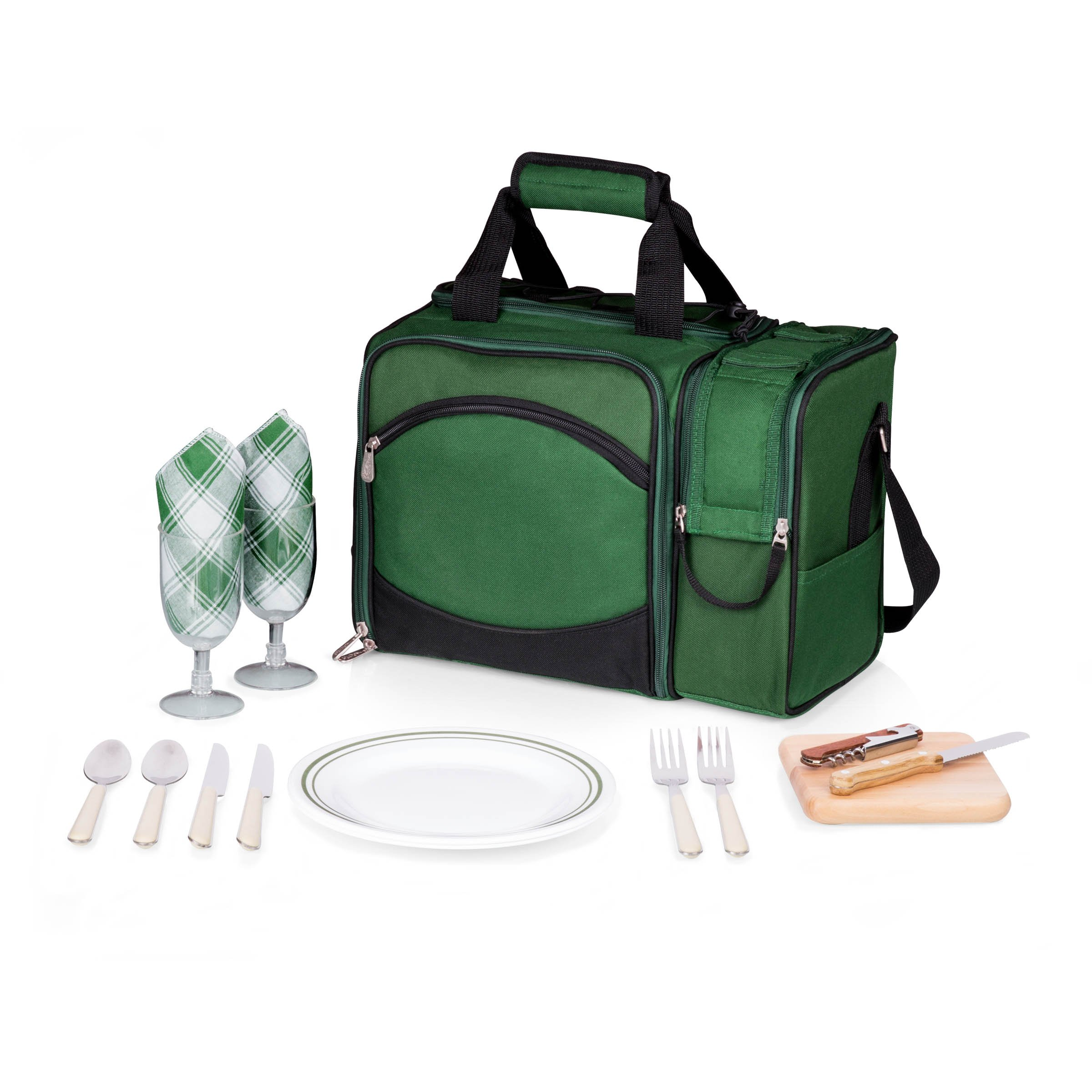 Picnic Time Malibu Insulated Cooler Picnic Tote with Service for 2, Hunter Green