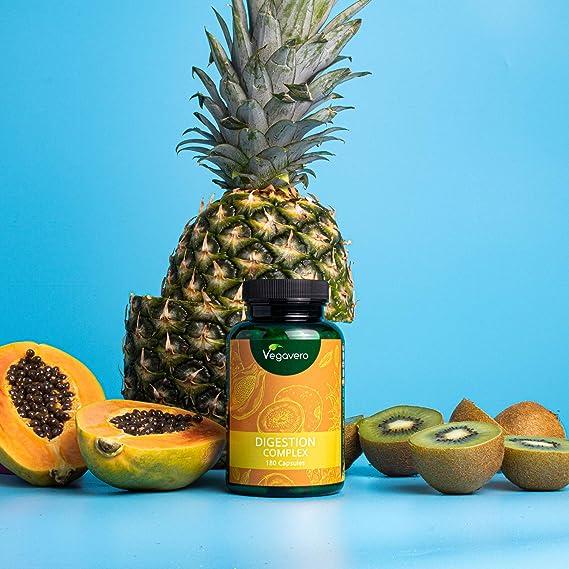 Digestion Complex Vegavero® | 100% Vegetal | Enzimas Digestivas de Papaína y Bromelina + Kiwi + Comino + Cardamomo | Sin Aditivos | 180 Cápsulas | ...