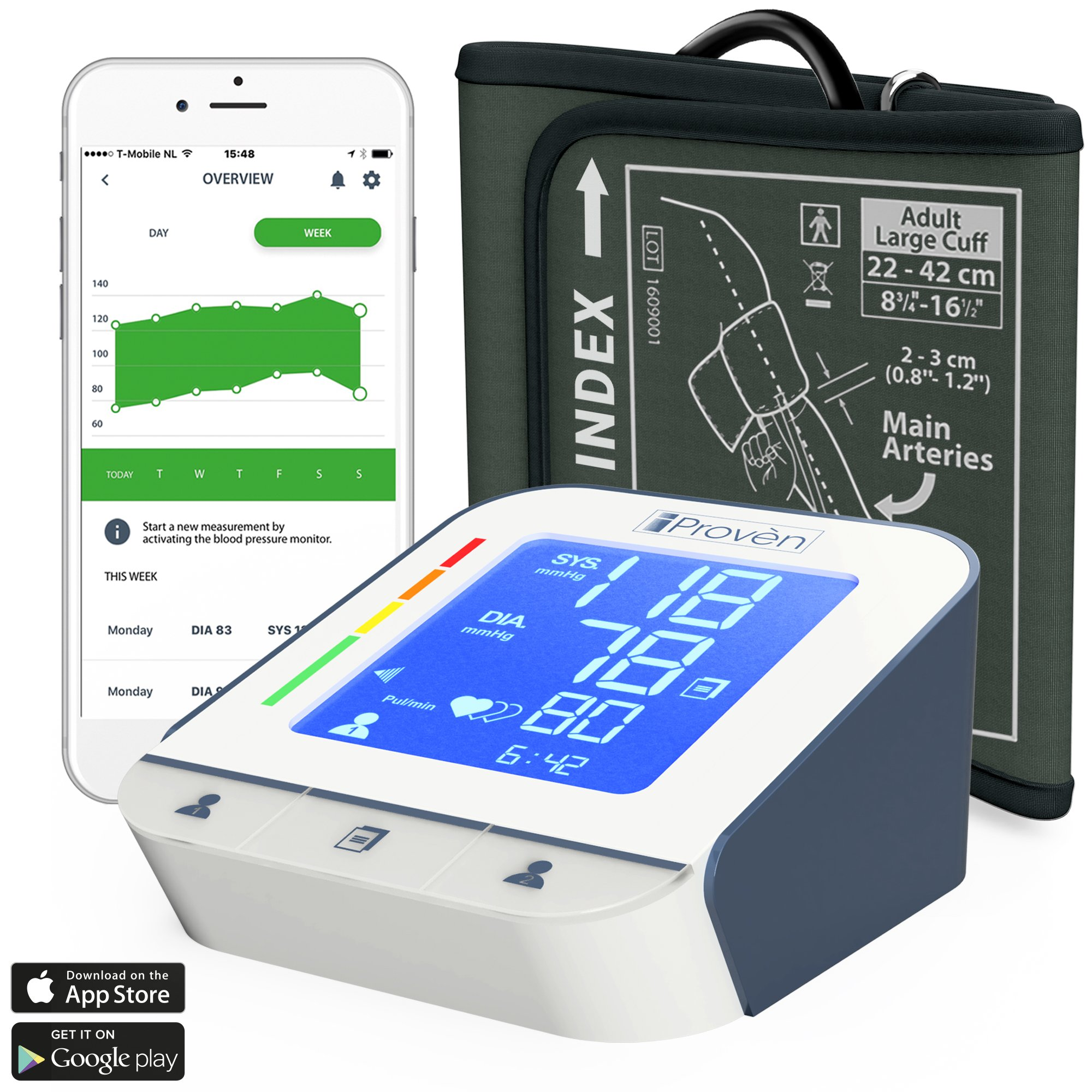Blood Pressure Monitor - High Accuracy Automatic Upper Arm Premium Machine - iProvèn BPM-2244BT with App for iPhone and Android - Large BP Cuff - Best Among Top Rated Electronic Monitors and Cuffs
