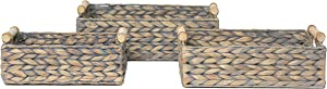 RGI Home Rectangular Woven Serving Trays - Deluxe Handcrafted Party Platters for Organizing, Entertaining and Decorating with Wood Handles, Set of 3 (Natural Hyacinth)