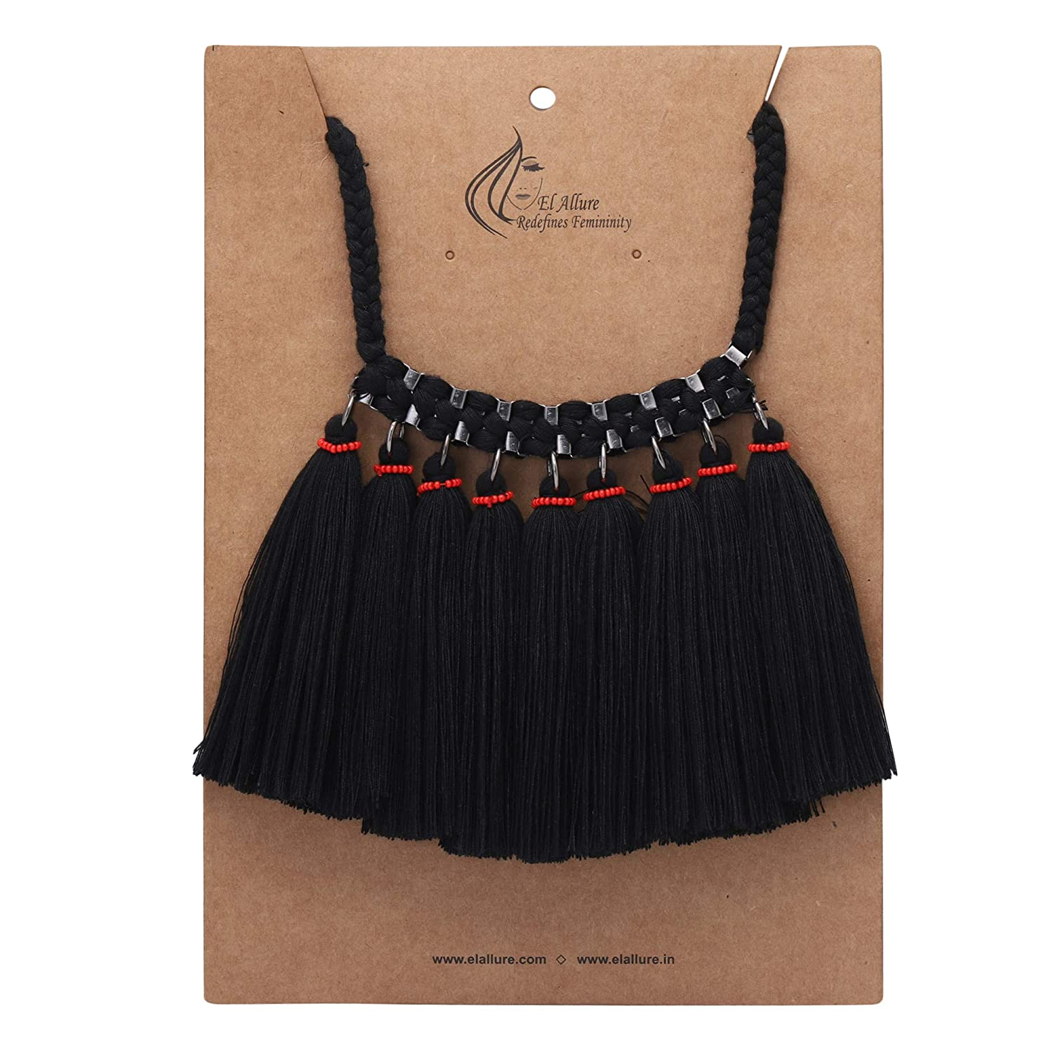El Allure Cotton Soft Thread Tassels and Seed Bead with Braided Rope Fitting Black Trendy Handmade Necklace for Women.