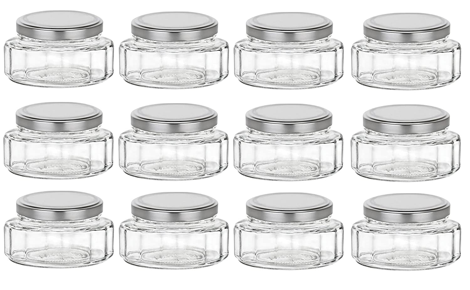 Amazon.com: Nakpunar 6 oz Beveled Glass Jars with Lids for Jam ...