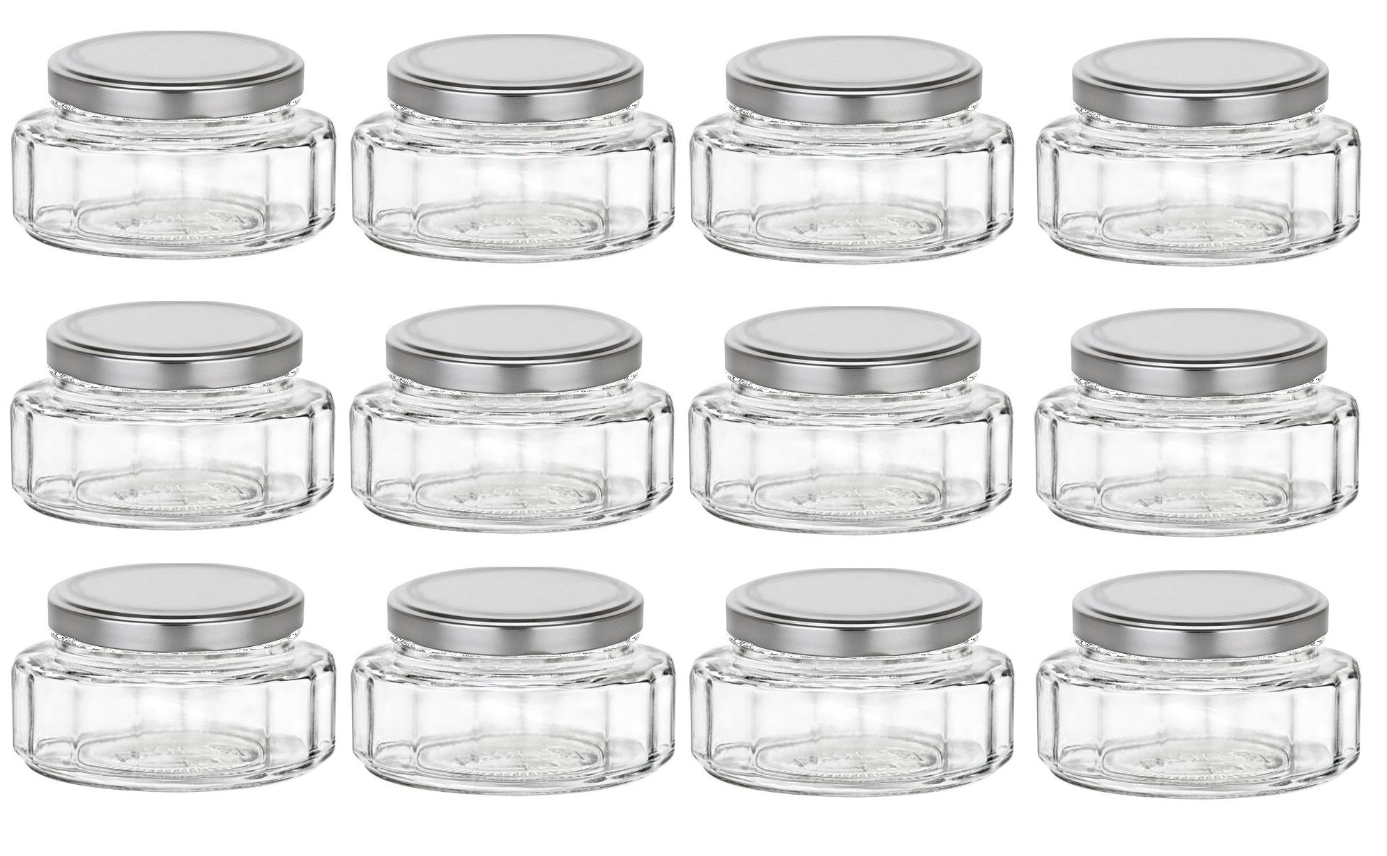 Nakpunar 6 oz Beveled Glass Jars with Lids for Jam, Honey, Wedding ...