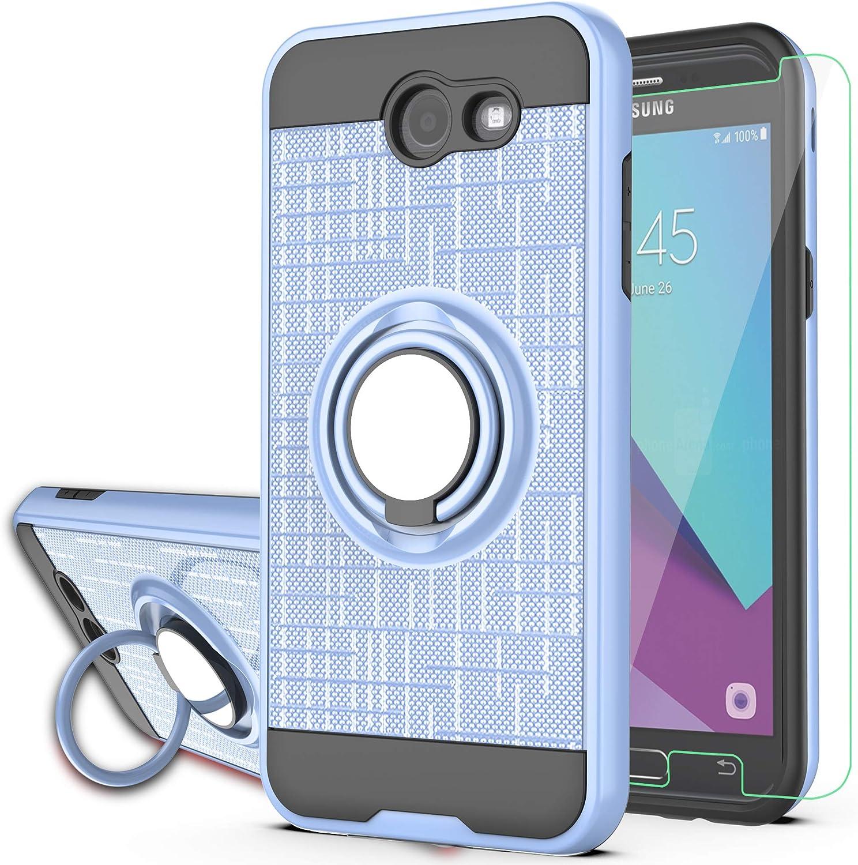 YmhxcY Coque arrière avec protection d'écran HD pour Samsung J3 Emerge/J3 Prime/J3 Mission/Luna Pro/Sol 2/Express Prime 2 avec anneau rotatif à 360° ...