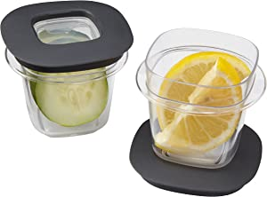 Rubbermaid Premier Easy Find Lids Food Storage Containers, 0.5 Cup, Gray, 2 Count 1937645