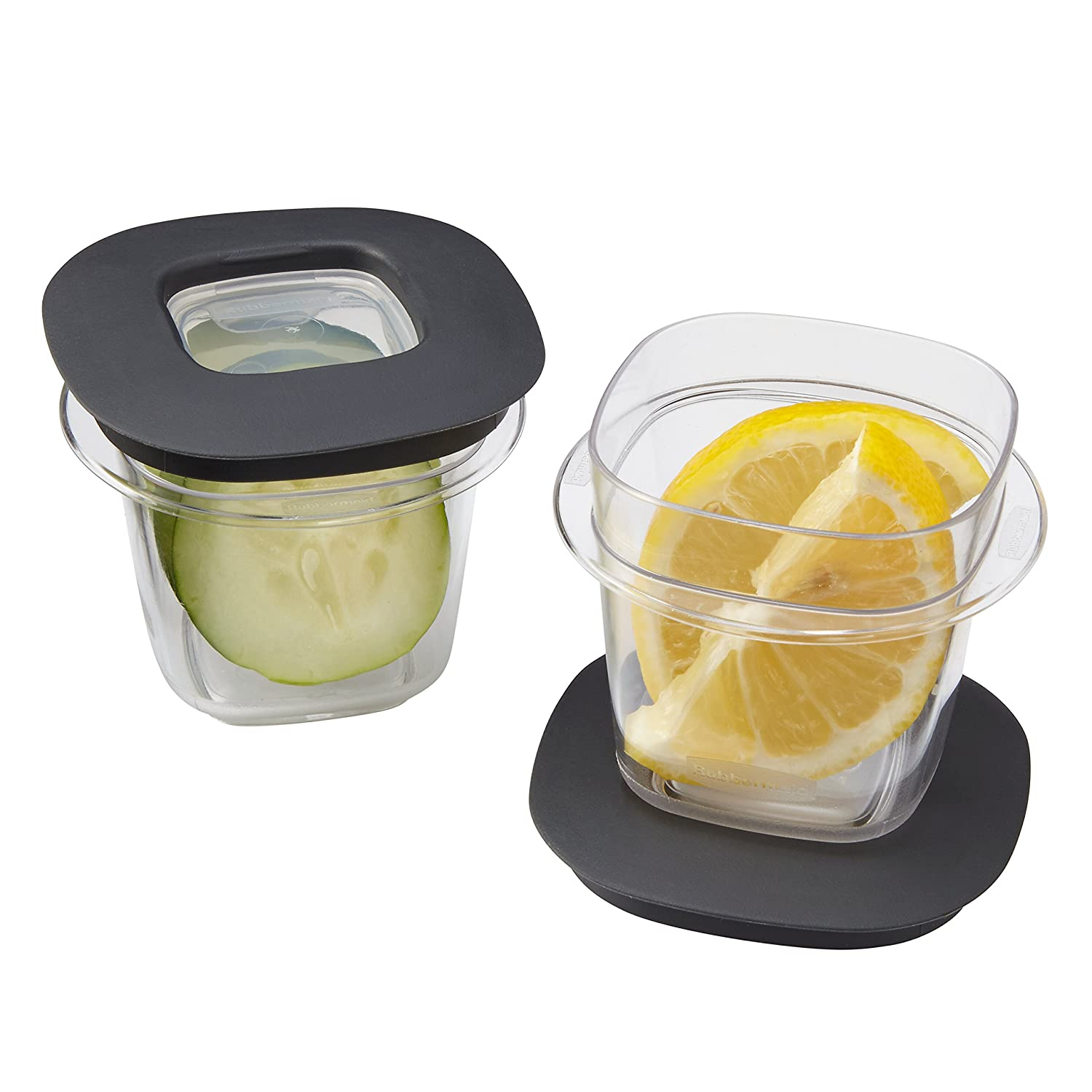 Rubbermaid 1937645 Premier Food Storage Containers, 0.5-Cup, 2-Pack, Grey