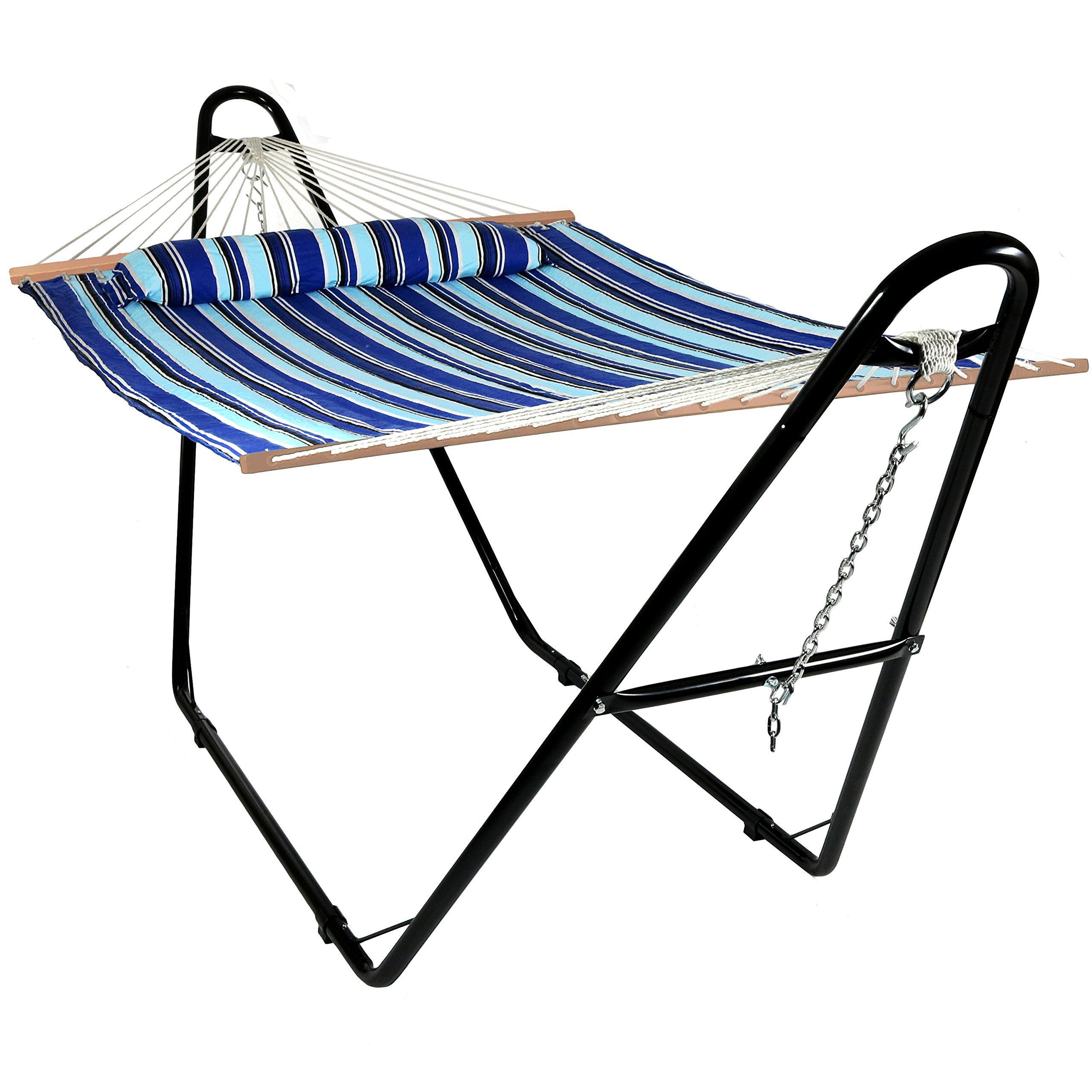 Sunnydaze Double Quilted Fabric Hammock with Multi-Use Universal Steel Stand, Catalina Beach Striped, 2-Person, 450 Pound Capacity