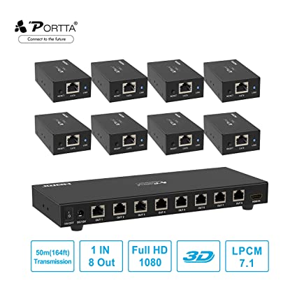 portta hdmi splitter extender 1 in 8 out over single utp cat5e/6 lan cable