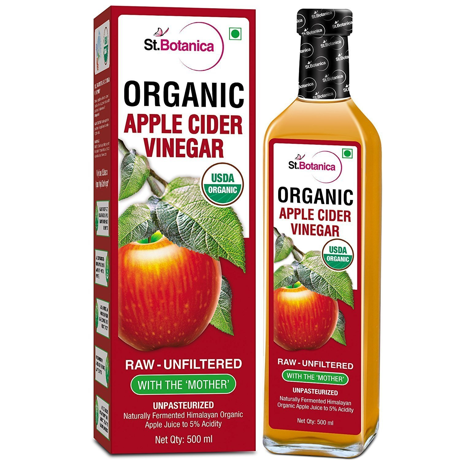 St. Botanica USDA Organic Apple Cider Vinegar With The