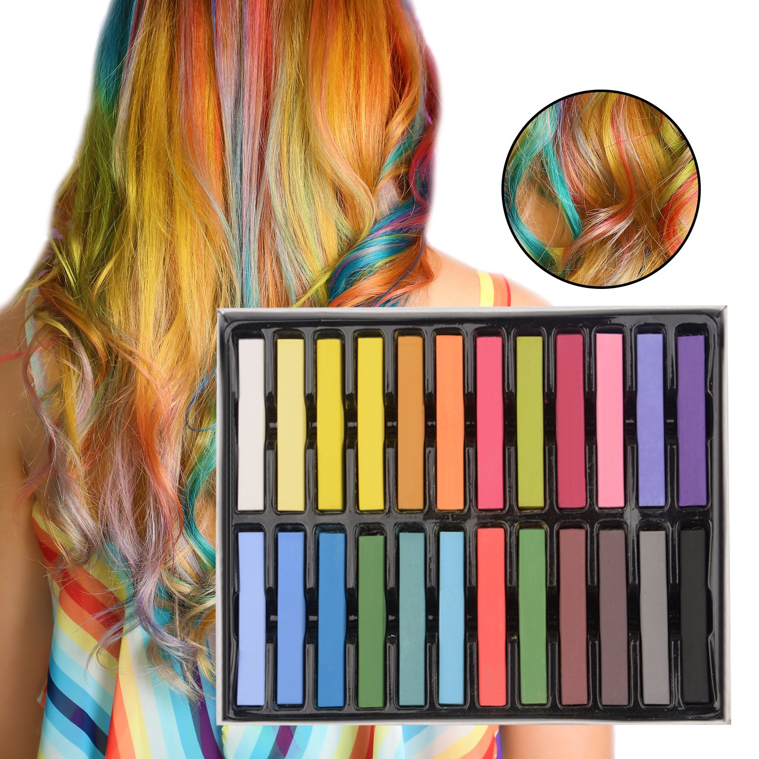 Hair Chalk, Trippix 24 color Temporary Hair Color Pens, Non-Toxic Hair Dye Temporary Hair Chalk Pens Washes Out Easily - Perfect Gift for Girls Boys Age 4 5 6 7 8 9 10 years old