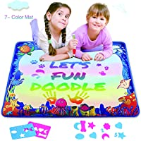 Hierceson 7-Colored Magic Water Drawing Doodle Mat with Magic Pen & Big Molds