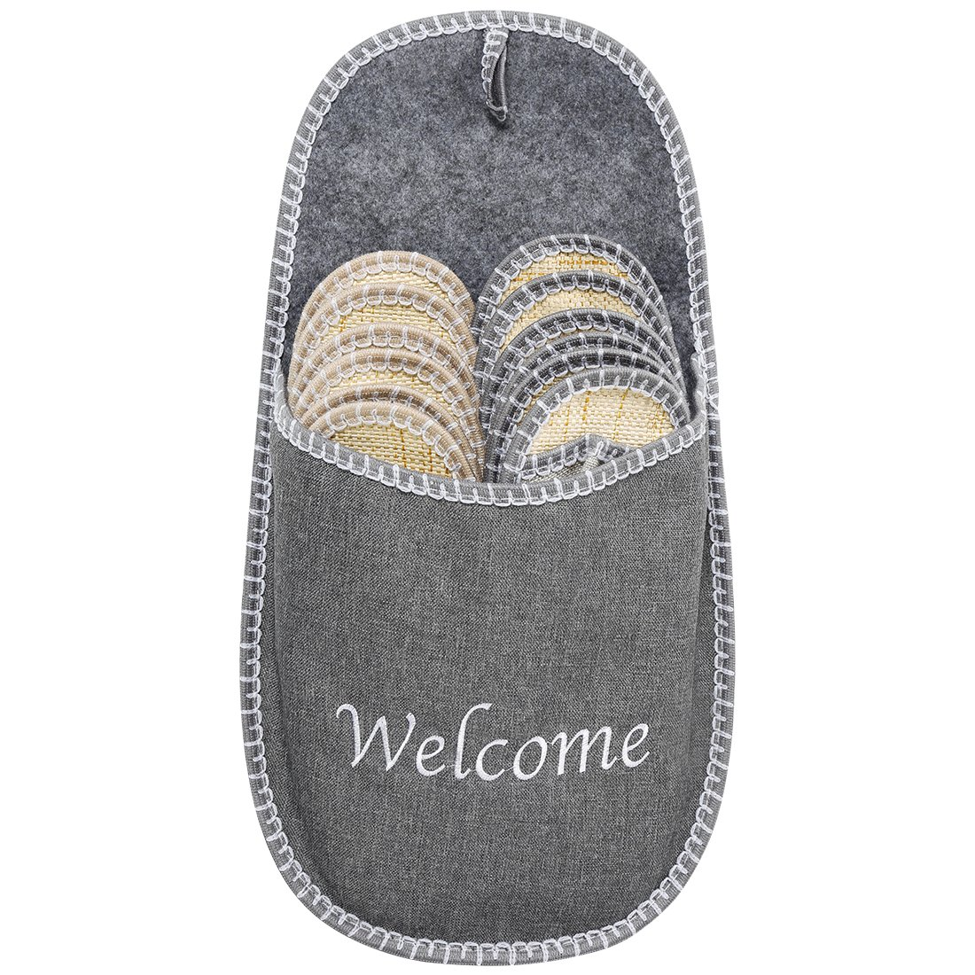 VIVIHOME Welcome Cool Indoor Guest Slipper Set for Summer Use Gray 6 Pairs