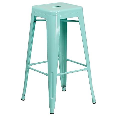Flash Furniture 30u0027u0027 High Backless Mint Green Indoor Outdoor Barstool