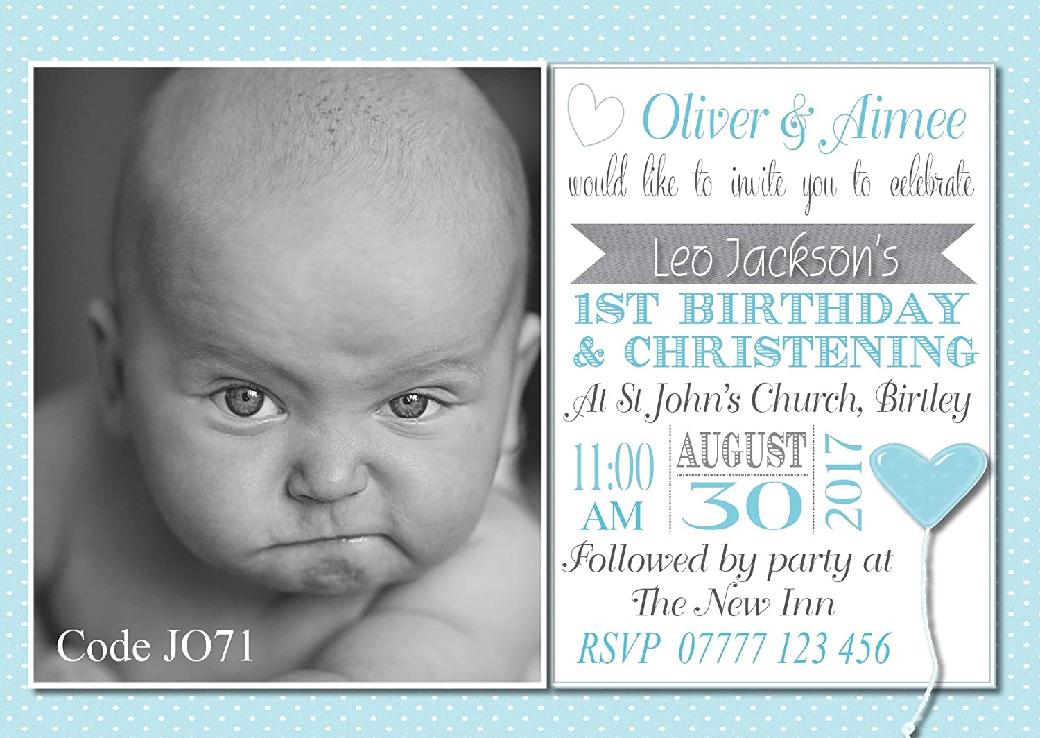 The Invite Factory Personalised Boys Joint Christening & First ...