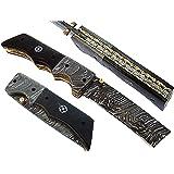 FNA-1168, Custom Handmade Damascus Steel 8.4 Inches Tanto Style Folding Knife - Beautiful Buffalo Horn Handle with Damascus Steel Bolsters