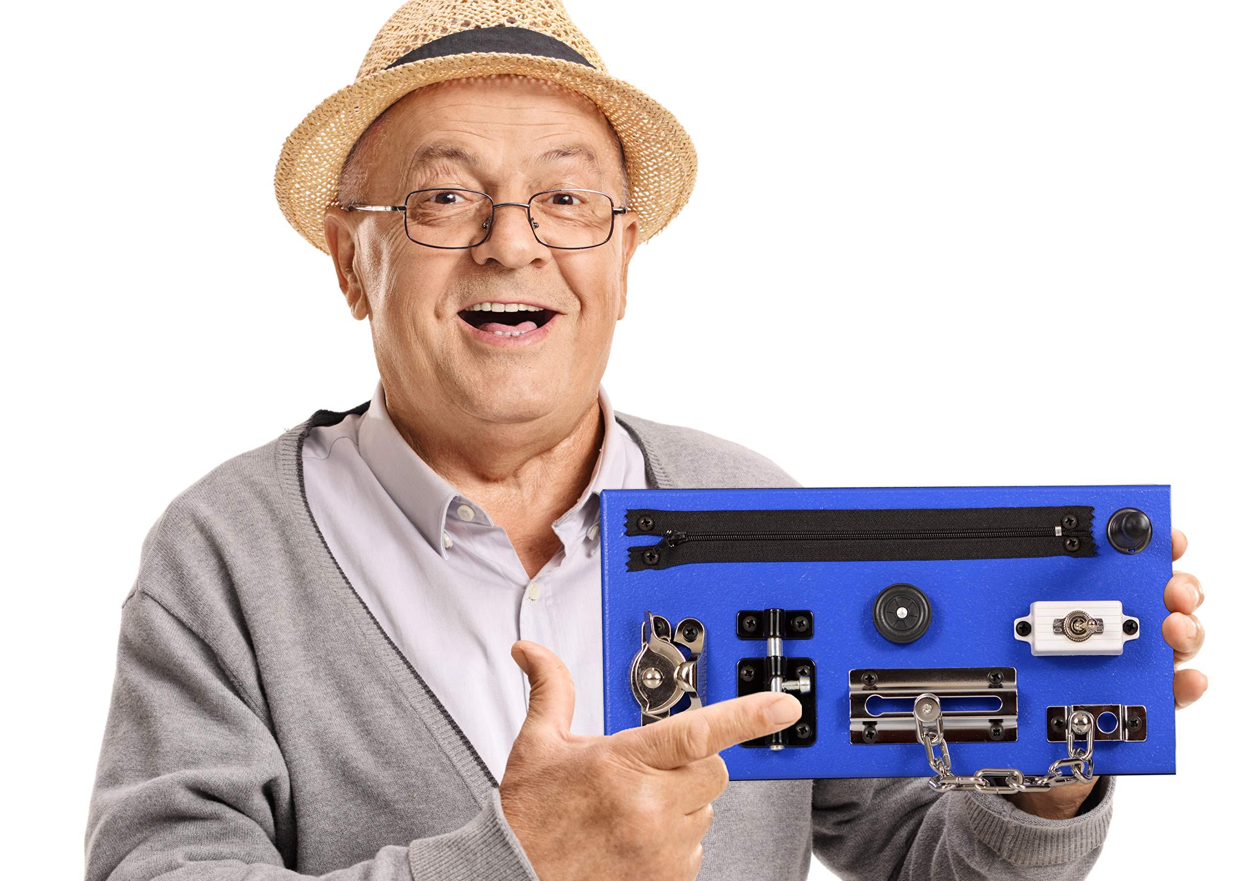 GeriGuard Solutions Memory Loss & Alzheimer's Dementia Fidget Board Activity Center - New Compact Size: 11'' x 5'' - DEEP Blue