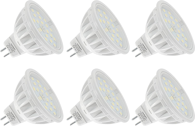 5.5W MR16 LED Bombillas Gu5.3 Destacar,Blanco Natural 4000K,Equivalente 60W Luz Halógena,Ra85 600LM DC12V,6 Piezas.
