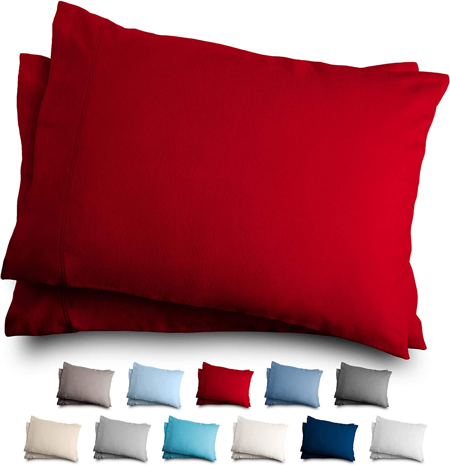 Bare Home Standard Flannel Pillowcase Set - 100% Cotton - Velvety Soft Heavyweight - Double Brushed Flannel (Standard Pillowcase Set of 2, Red)