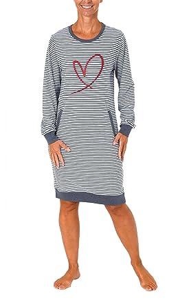 online store 61f19 e7e8f NORMANN WÄSCHEFABRIK Lässiges Damen Nachthemd Langarm mit Kängurutasche und  Herzmotiv - auch in Übergrössen