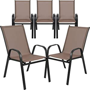 Flash Furniture 5 Pack Brazos Series Brown Outdoor Stack Chair with Flex Comfort Material and Metal Frame