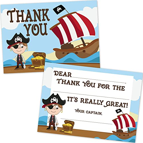 Pirate Birthday Kids Fill In Thank You Cards for Boys (10 Count with Envelopes)