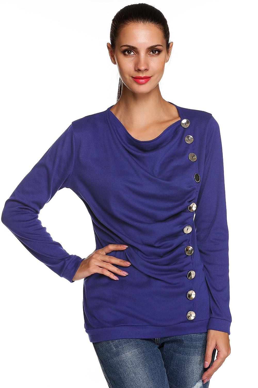 ACEVOG Women Casual Cowl Neck Button Down Long Sleeve Tunic Tops