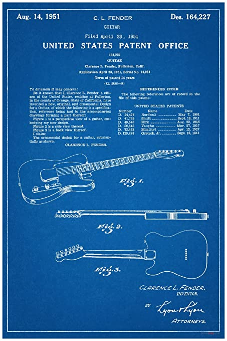 Amazon fender electric guitar patent new famous invention fender electric guitar patent new famous invention blueprint poster malvernweather Images