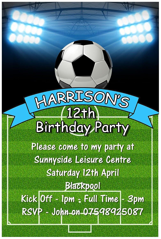 Personalizado 12 fiesta de cumpleaños invitaciones de fútbol ...