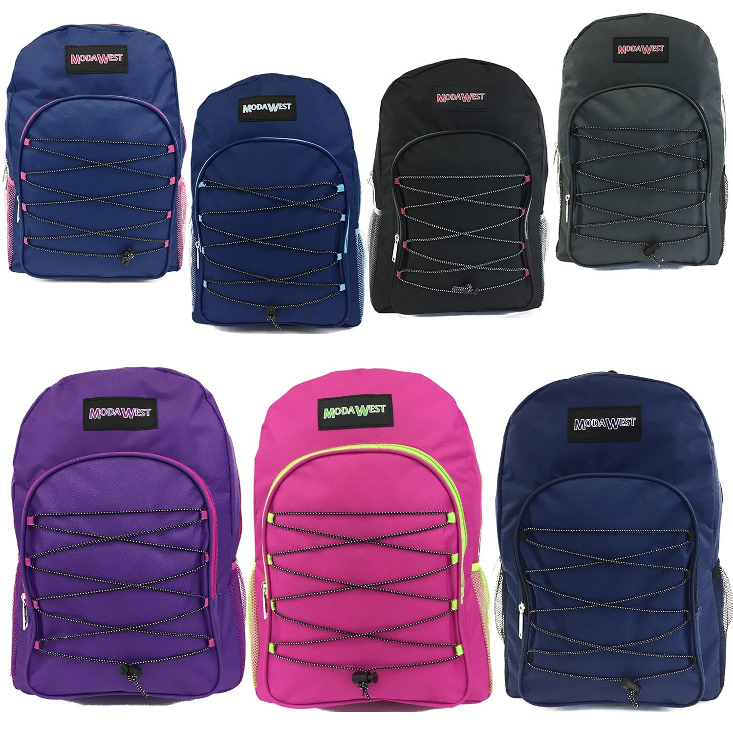 Wholesale 19'' Bungee Design Backpack In 7 Assorted Colors - Case of 24 by Moda West
