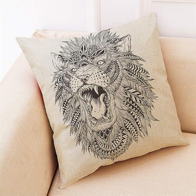 Amazon.com: CreazyBee Lion Sketch Printed Polyester Abstract ...