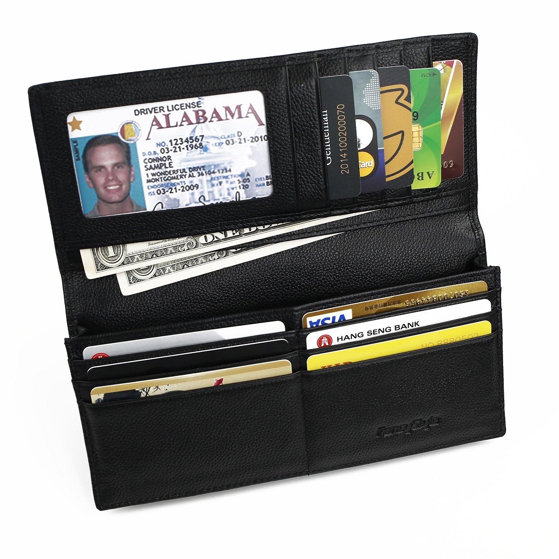 Men RFID Blocking Leather Checkbook Wallet Safe Long Bifold Travel Billfold Black with 10 Sleeves