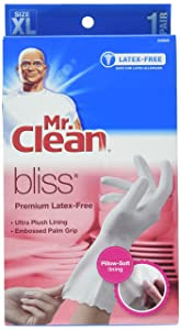 Mr. Clean, 243635 Bliss, Extra Large Latex Free, Vinyl, Soft Ultra Absorbent Lining, Non- Slip Swirl Grip Gloves, (XL)