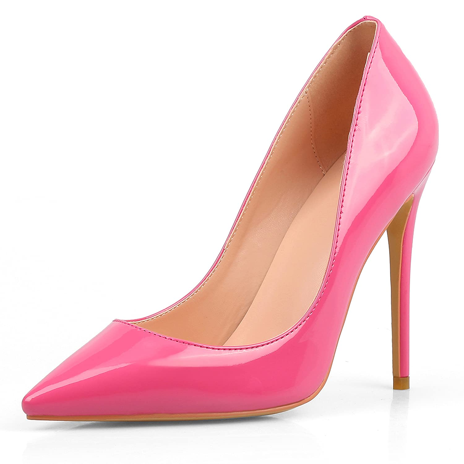 Chris-T Womens Formal Pointed Toe Pumps Basic Shoes High Heel Stilettos Sexy Slip On Dress Shoes Size 4-15 US B075F6GGPM 6 B(M) US|Pink/Red S0le(bottom)