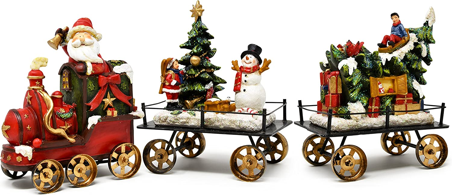 "Gift Boutique Christmas Express Train Table Decor - Holiday 3-Piece Mini 6"" Stone Resin for Office Desk Shelf Kitchen Mantle Decoration"