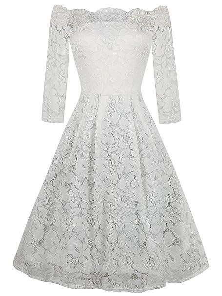c751dad7ec2d4 oxiuly Women's Vintage Half Sleeve Off Shoulder Stretch Casual Wedding  Bridesmaid Lace Swing Dress OX228 (